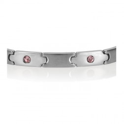 Stainless Steel Bracelet with Pink Stones