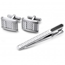 Stainless Steel Rectangular Cuff Links With Greek Key Patterns And Matching Tie Bar