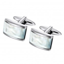Beautiful Mother Of Pearl Inlaid Stainless Steel Cufflinks