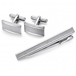 Stainless Steel Cuff Links And Matching Tie Bar