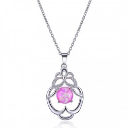 Pink Opal and CZ Pendant in Sterling Silver