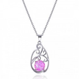 Round-Cut Pink Opal and Sterling Silver with CZ Drop Pendant