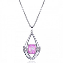 Pink Opal and Sterling Silver Geometric Pendant with CZ