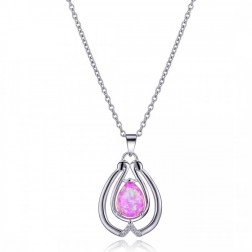 Pink Opal and CZ Sterling Silver Drop Pendant