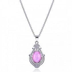 Sterling Silver, CZ and Pink Opal Drop Pendant