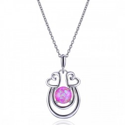 Double Heart Sterling Silver Drop Pendant with Pink Opal