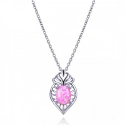 Oval Pink Opal and Sterling Silver Drop Pendant