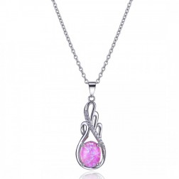 Droplet Inspired CZ and Pink Opal Drop Pendant in Sterling Silver