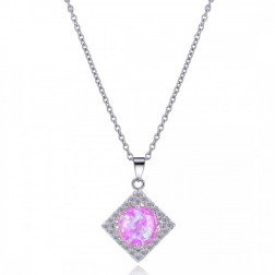 Diamond Shaped CZ and Pink Opal Drop Pendant in Sterling Silver