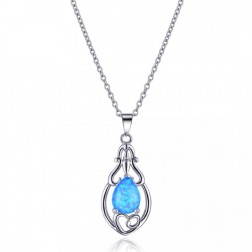 Graceful Heart and Blue Opal Pendant in Sterling Silver