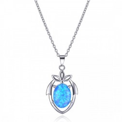 Blue Opal and Sterling Silver Drop Pendant