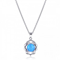 Round Blue Opal and Sterling Silver Pendant with CZ
