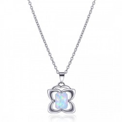 Four-Petaled Flower Inspired White Opal and Sterling Silver Pendant