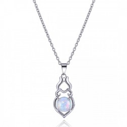 Sterling Silver and White Opal Pendant