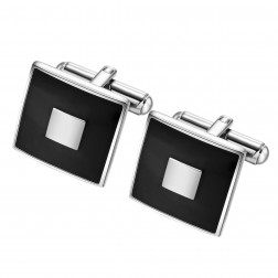 Square Geometric Contrasting Stainless Steel Cufflinks