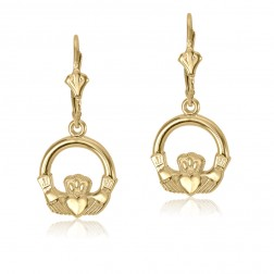 10K Yellow Gold Claddagh French Back Earrings