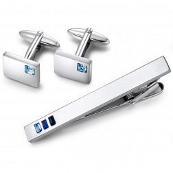 Stainless Steel Brushed Plain Cuff Links And Matching Tie Bar With Blue Rectangular Stones