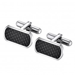 Carbon Fiber Detailed Stainless Steel Cufflinks