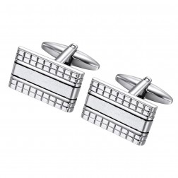 Geometric Striped Cufflinks – Stainless Steel