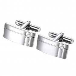 Brushed Geometric Stainless Steel Cufflinks with Glass Accent Stone