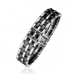 Mens Stainless Steel With Ceramic Links Bracelet