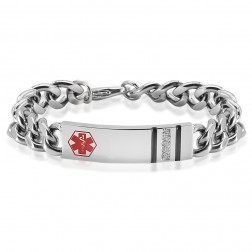Ladies Stainless Steel Medical ID Bracelet with Cubics