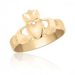 10K Yellow Gold Men's Claddagh Ring