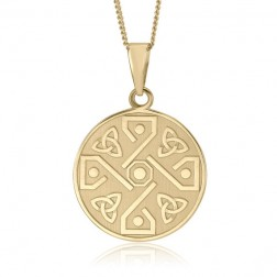 10K Yellow Gold Celtic 4 Way Trinity Knot Pendant