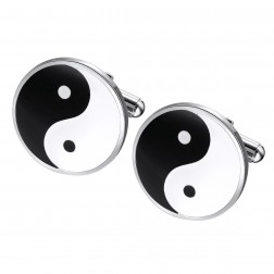 Yin Yang Cufflinks in Stainless Steel – Light and Dark