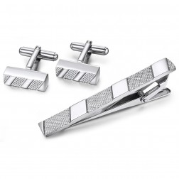 Slender Diagonal Texture Stripe Cufflinks in Stainless Steel