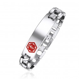 Stainless Steel X Design Medical ID Bracelet