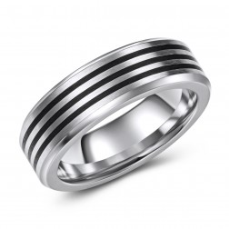 Black and Chrome Cobalt Striped Wedding or Fashion Band