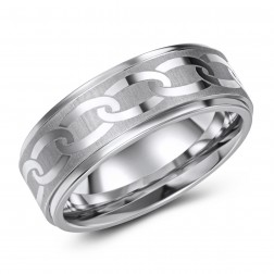 Chain-Link Etched Cobalt Ring