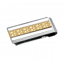Two Toned Stainless Steel Nugget Pattern Money Clip