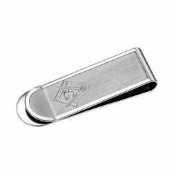Slim Masonic Stainless Steel Money Clip.