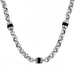 22 Inch Stainless Steel Fashion Chain – Black Barrel Enamel Beads – Rolo Style