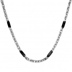 Stainless Steel Fashion Chain – Black Plated Accent Links – 22 Inches