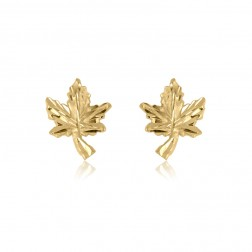 10K Yellow Gold Maple Leaf Stud Earrings