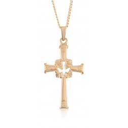 14K Yellow Gold Cross with Dove