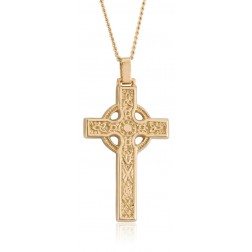 Classic Celtic Sun Cross Necklace in 10K Yellow Gold