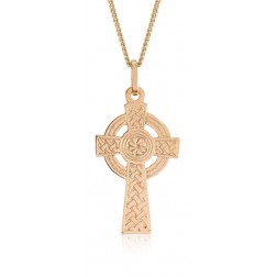 Large Textured Celtic Sun Cross Pendant in 10K Yellow Gold