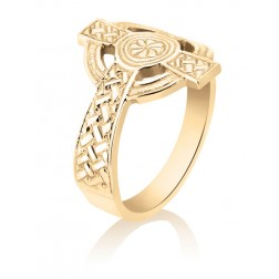 10K Yellow Gold Men's Celtic Cross Ring