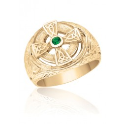 Men's 10K Yellow Gold Celtic Cross and Knot Ring