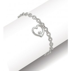 10K White Gold Rolo Bracelet With Dangling Heart