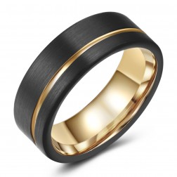 Two-Toned Black-Gold Tungsten Ring Band - Wedding - Recessed Accent - 8mm - Fashion - Brushed Finish - Men's - Unisex - Engravable - Flat