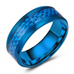 Carbon Fiber Inlaid Blue Tungsten Ring Band - Wedding - 8mm - Fashion - High Polished Finish - Men's - Unisex - Engravable - Flat