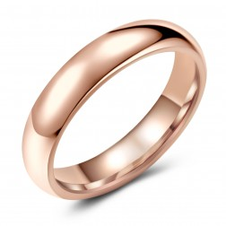 Classic Rose-Tone Tungsten Ring Band - Wedding - 5mm - Fashion - High Polish Finish - Unisex - Engravable - Domed