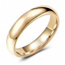 Classy Gold-Tone Tungsten Ring Band - Wedding - 5mm - Fashion - High Polish Finish - Unisex - Engravable - Domed