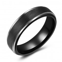 Chic Black Tungsten Two-Tone Ring Band - Wedding - 6mm - Fashion - Brushed Finish - Men's - Unisex - Engravable - Flat