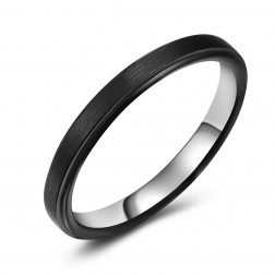 Dapper Thin Black Two-Tone Tungsten Ring Band - Wedding - 4mm - Fashion - Brushed Finish - Men's - Unisex - Engravable - Flat